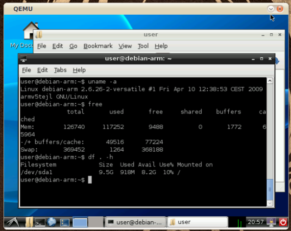 LXDE Debian ARM running in QEMU