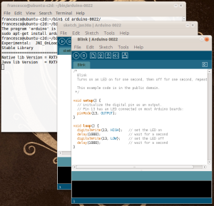 Screenshot of Arduino IDE: Blink example sketch